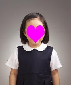 幼稚園受験用写真 女児 前髪結わく
