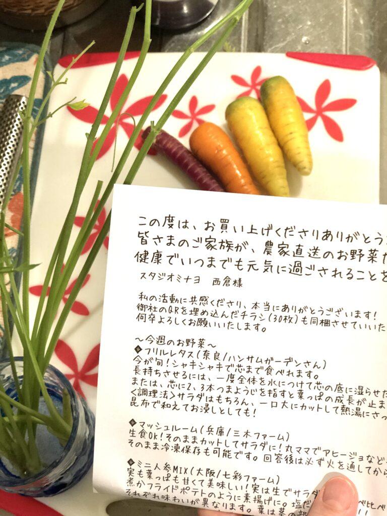 ぎゃらりぃさわさんから送られてきた手紙と有機野菜